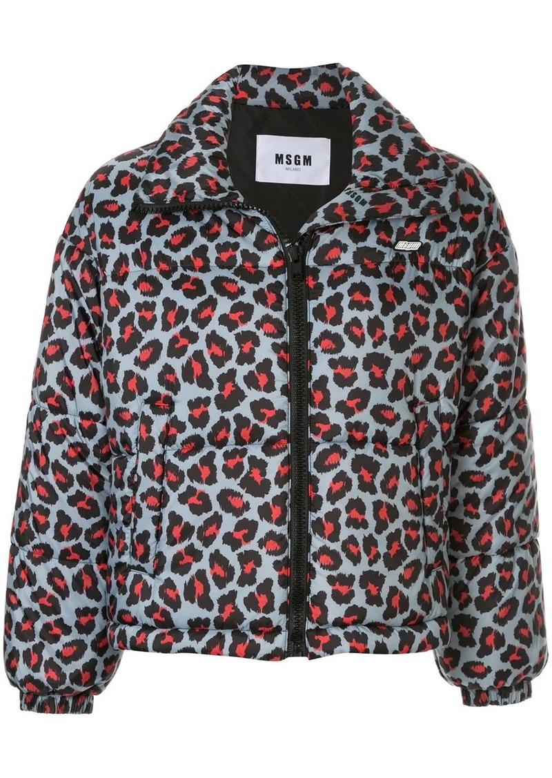 MSGM leopard print zip-up puffer jacket