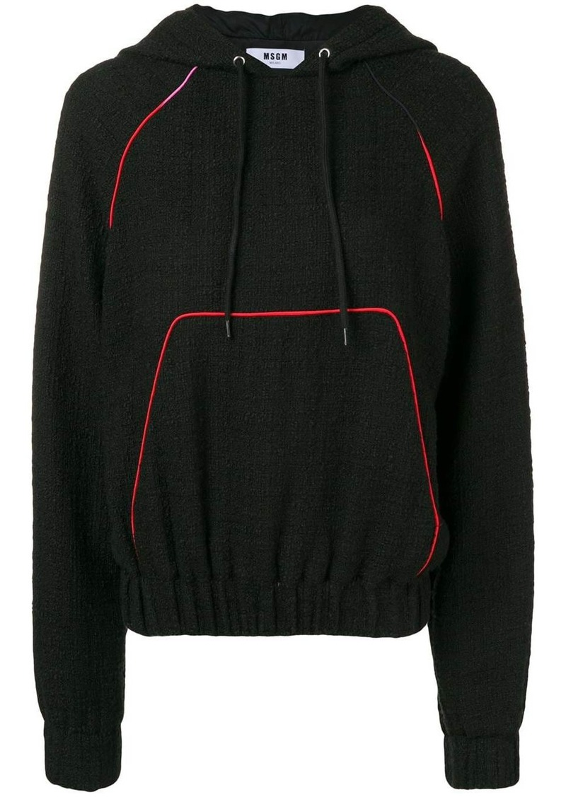 MSGM logo appliquéd bouclé hoodie
