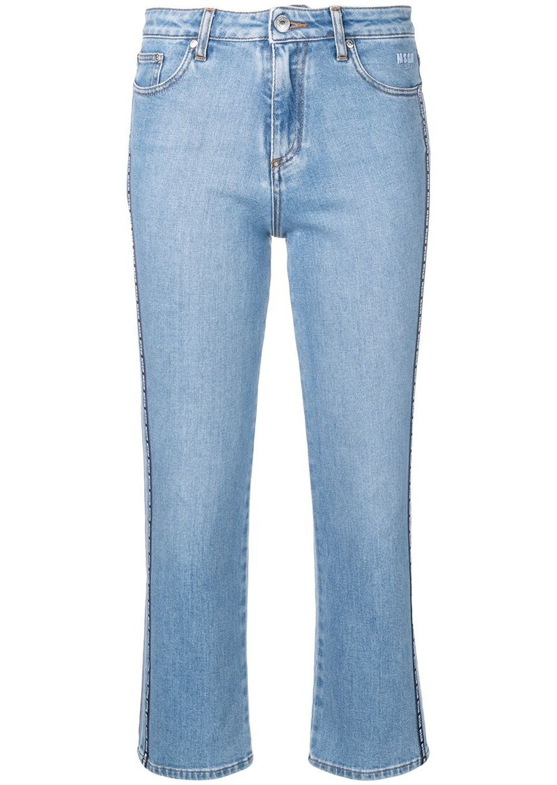 MSGM logo band cropped jeans
