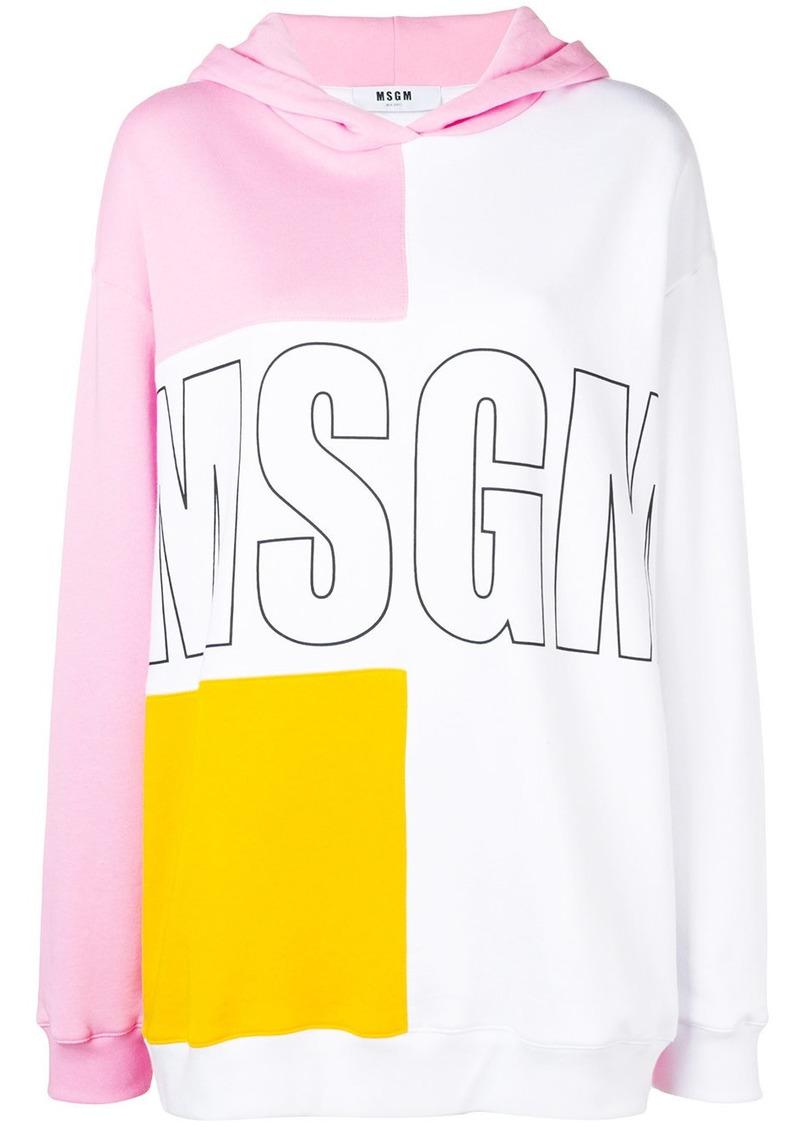MSGM logo colour-block hoodie