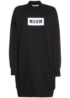 MSGM Logo Print Cotton Jersey Sweat Dress