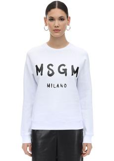 MSGM Logo Print Cotton Sweatshirt