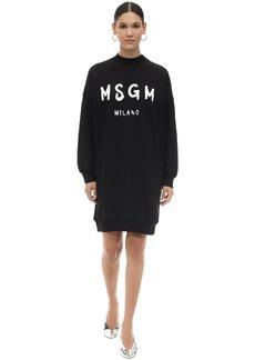 MSGM Logo Print Cotton Sweatshirt Dress