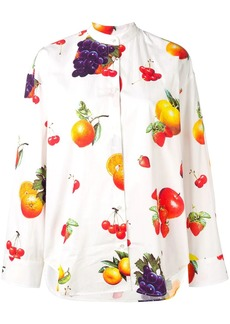 MSGM mandarin collar fruit print shirt