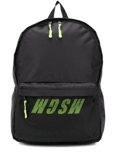 MSGM mesh-panel logo-print backpack