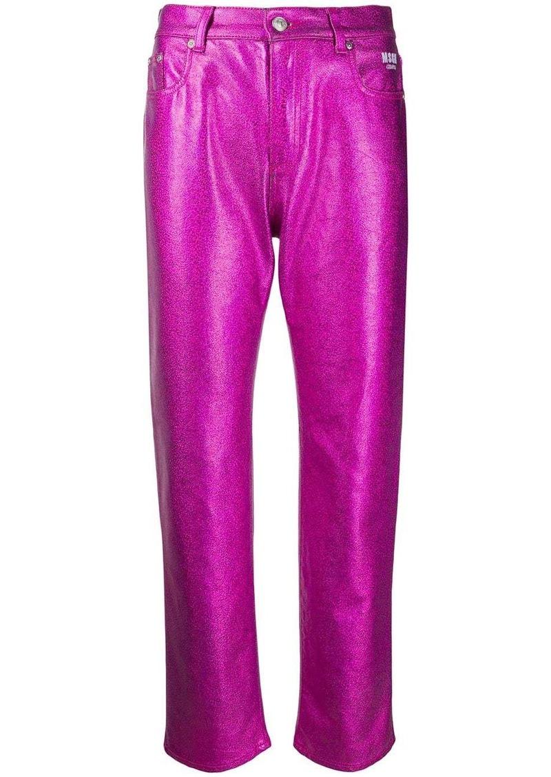 MSGM metallic bootcut jeans