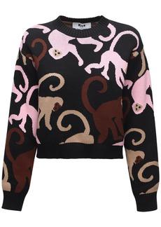MSGM Monkey Intarsia Knit Cotton Sweater