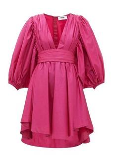 MSGM Balloon-sleeve glitter-taffeta mini dress