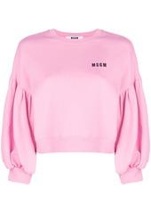 Msgm msgm balloon sleeve sweatshirt   pink  purple abv6aa961e3 a