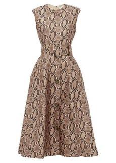 MSGM Belted snake-print satin dress