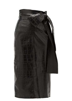 MSGM Crocodile-effect faux leather midi skirt