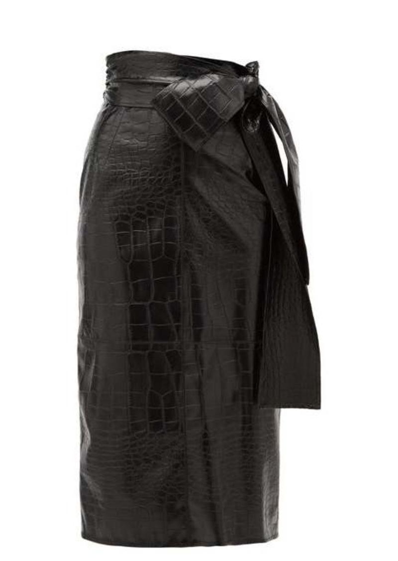 MSGM Crocodile-effect faux leather midi skirt