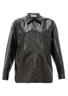 MSGM Crocodile-effect faux-leather shirt