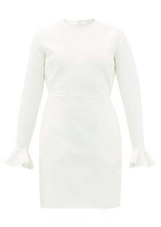 MSGM Crystal-embellished ruffle-cuff crepe dress