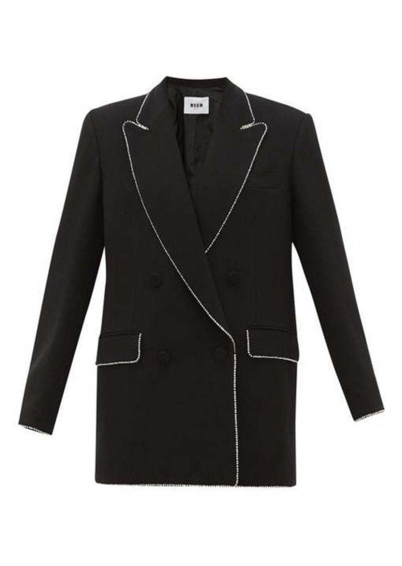 MSGM Crystal-trim double-breasted crepe jacket