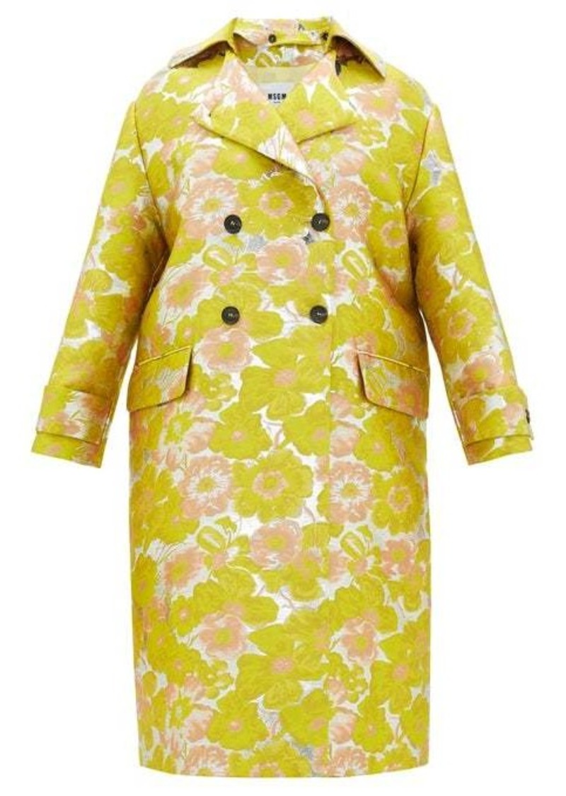 MSGM Double-breasted floral brocade coat