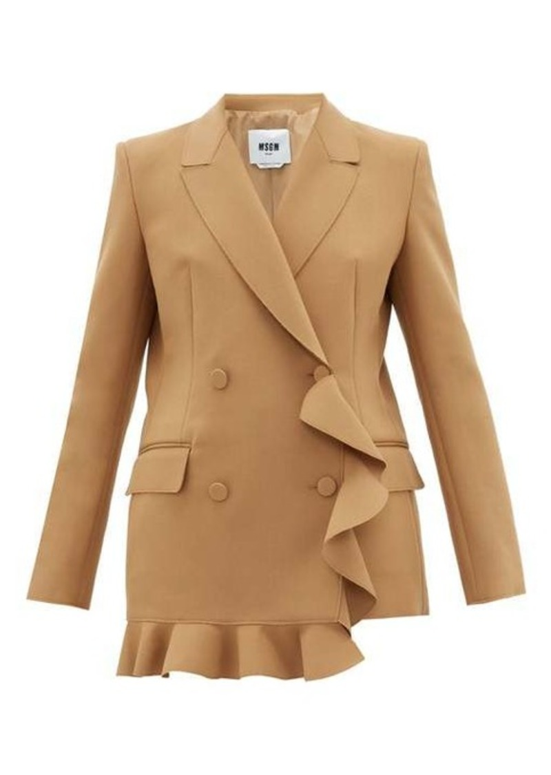 MSGM Double-breasted ruffled crepe blazer