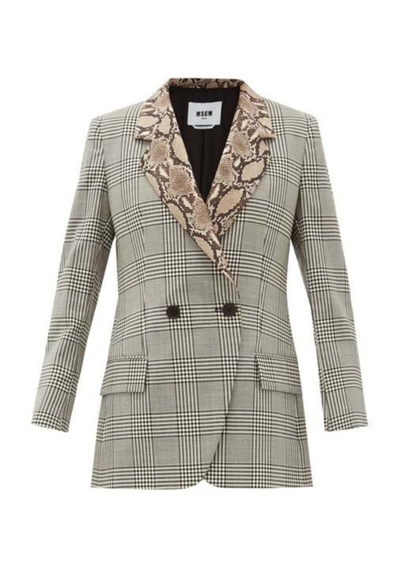 MSGM Double-breasted snake-collar wool blazer