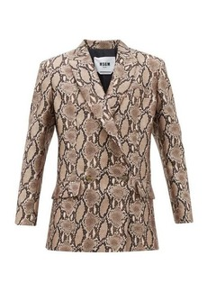 MSGM Double-breasted snake-print crepe blazer