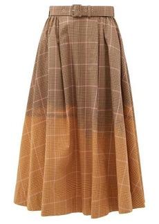 MSGM Faded checked cotton midi skirt
