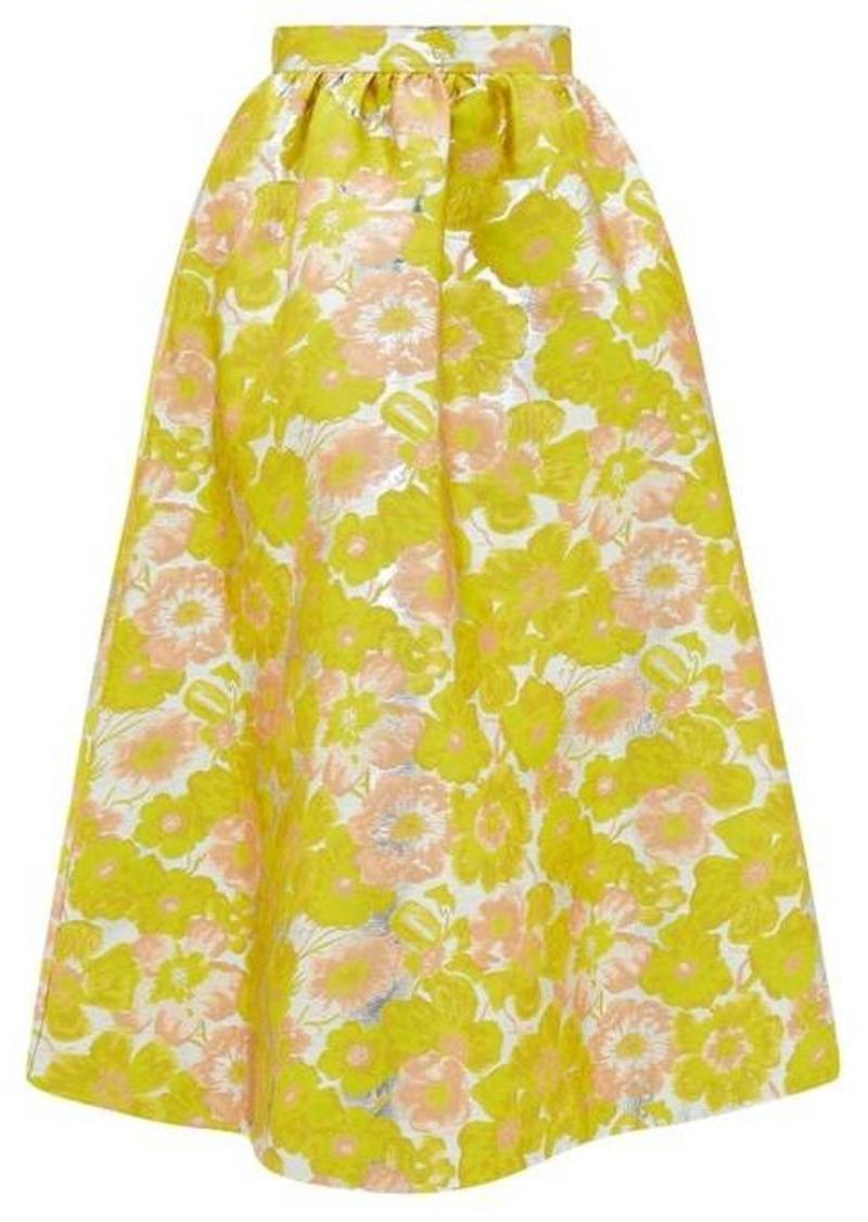 MSGM Floral-brocade high-rise midi skirt