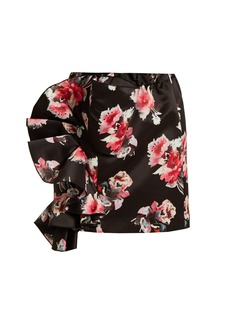 MSGM Floral-print ruffled satin mini skirt
