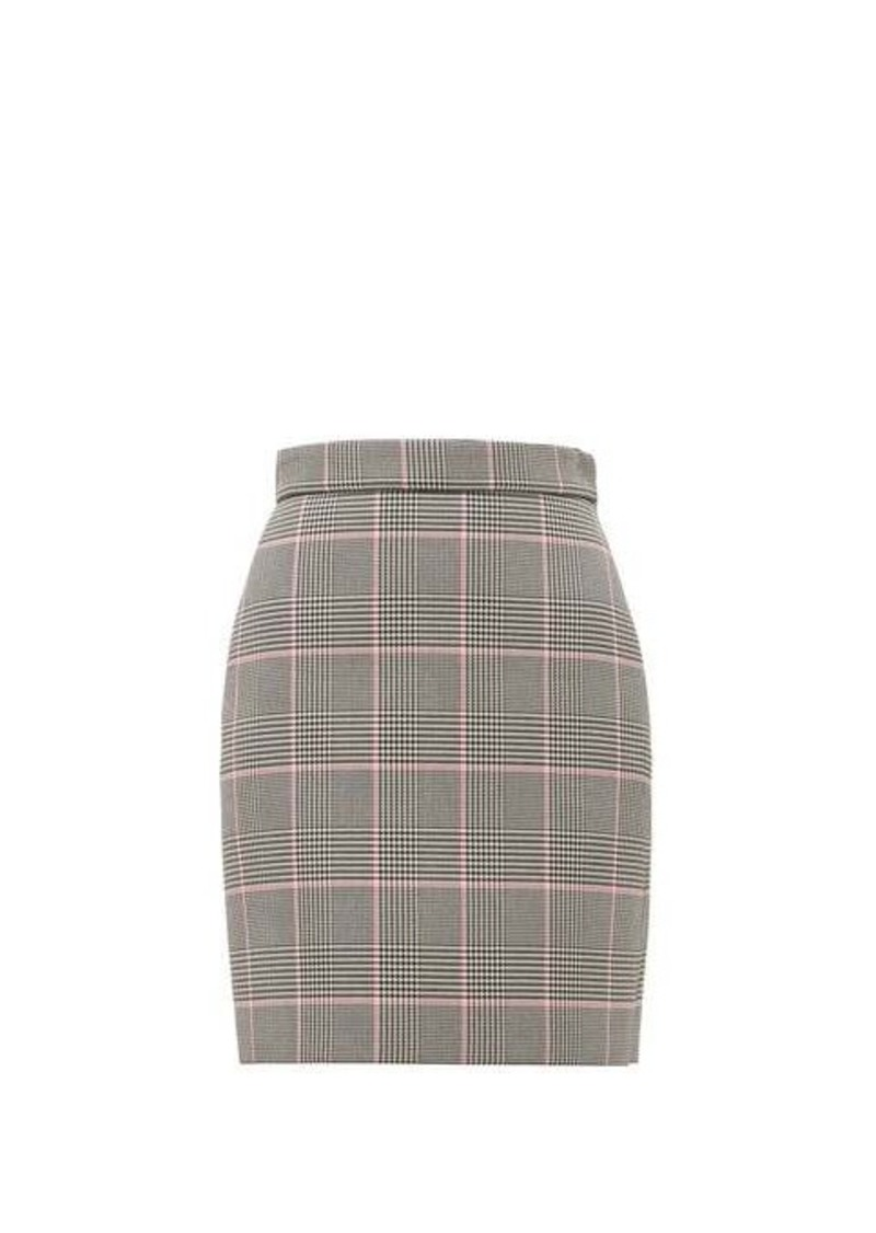 MSGM Glen-checked cushioned-twill mini skirt