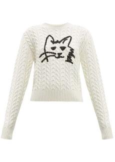 MSGM Graffiti cat-print wool-blend cable-knit sweater