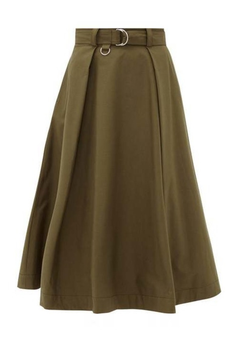 MSGM High-rise belted cotton-blend midi skirt