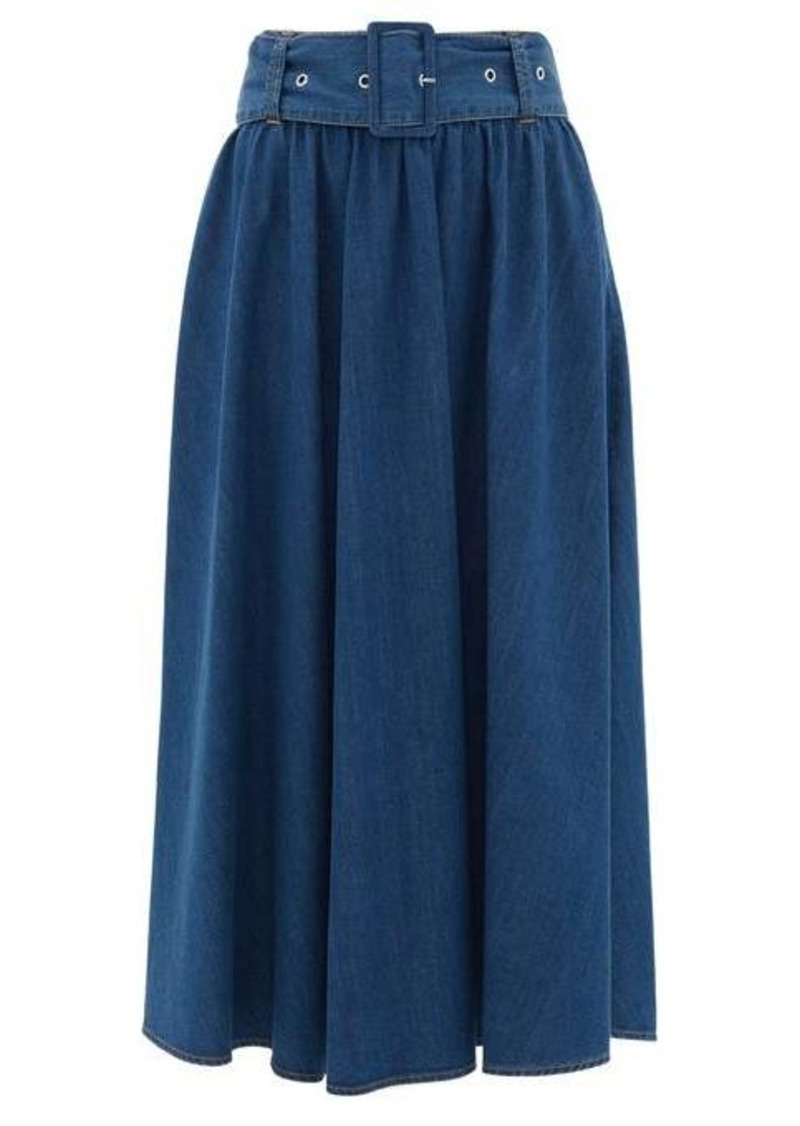 MSGM High-rise denim midi skirt