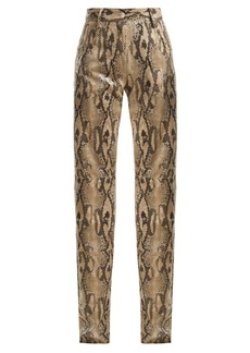 MSGM High-waisted snake-print trousers