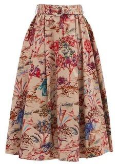 MSGM Jungle-print flared cotton-twill midi skirt