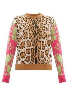 MSGM Leopard-intarsia sweater