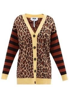 MSGM Leopard-jacquard knit cardigan