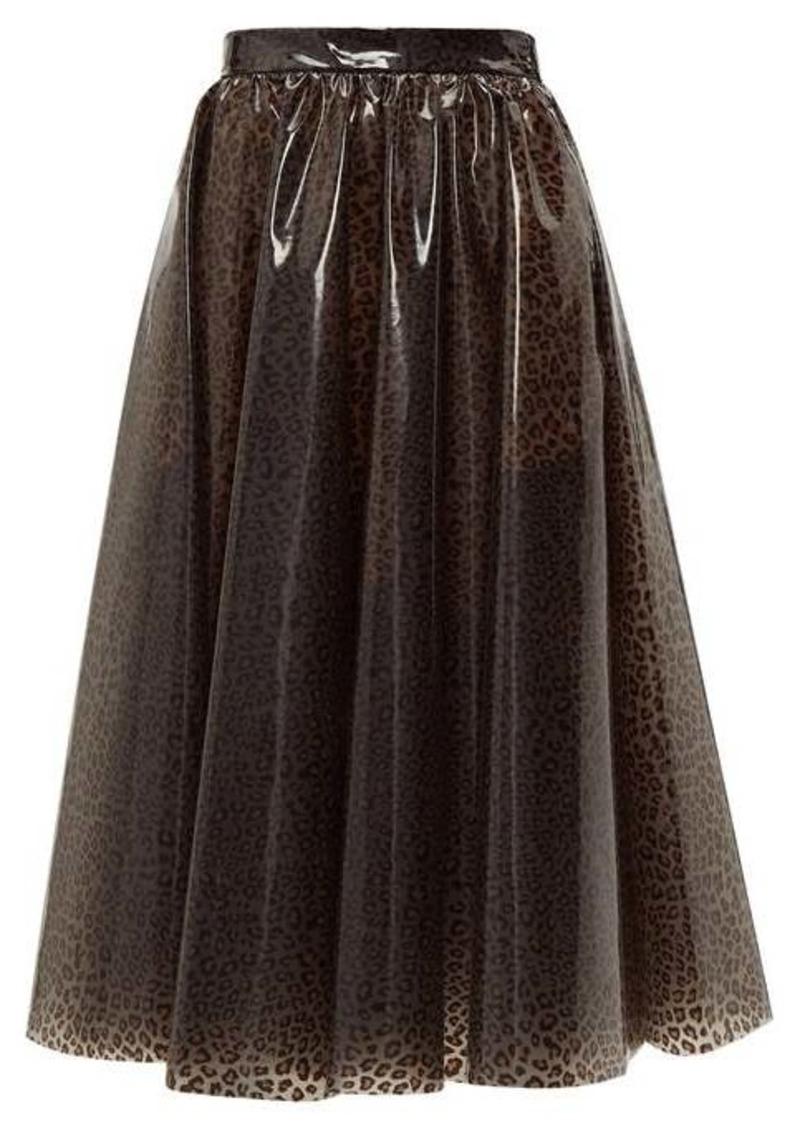 MSGM Leopard-print PVC midi skirt