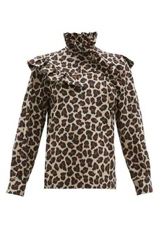 MSGM Leopard-print ruffle-trim cotton-poplin blouse