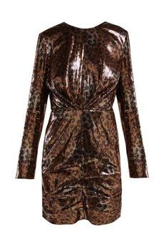 MSGM Leopard-print sequinned mini dress