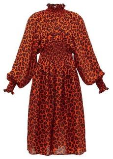 MSGM Leopard-print shirred midi dress