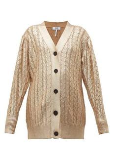 MSGM Metallic cable-knit wool-blend cardigan