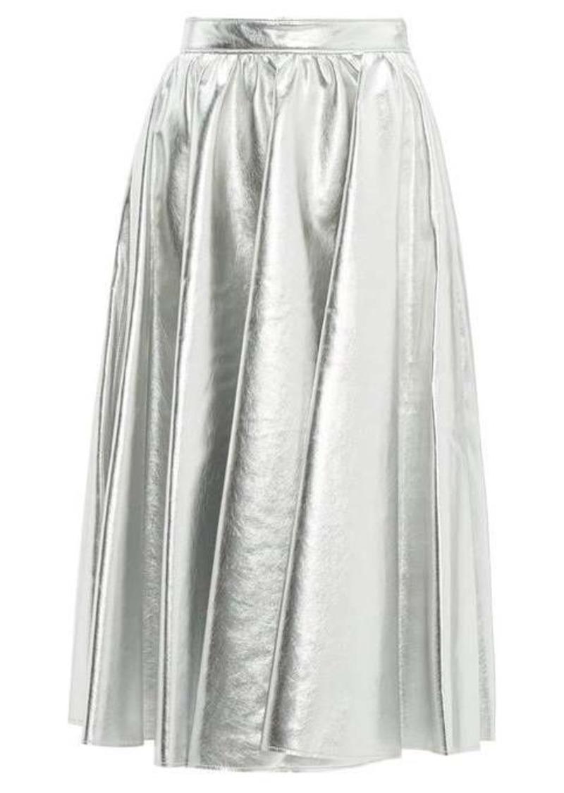 MSGM Metallic faux-leather flared midi skirt