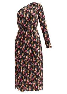 MSGM One-shoulder floral-print plissé midi skirt dress