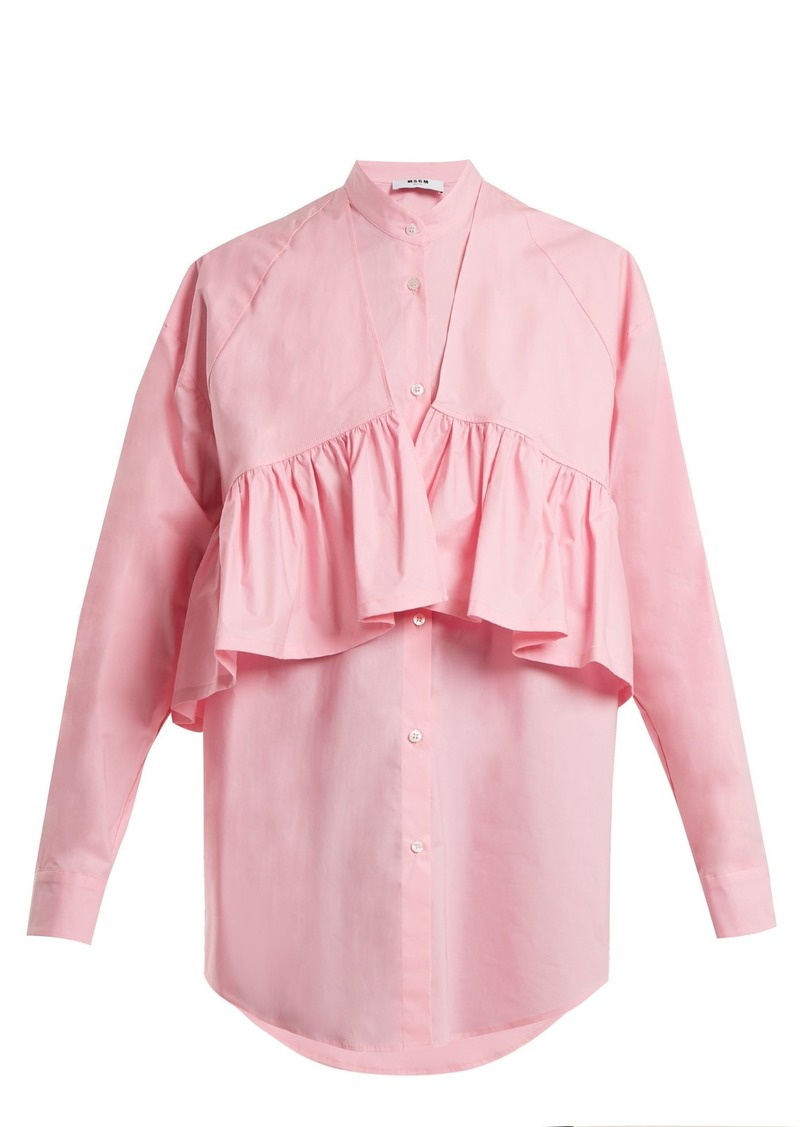 MSGM Oversized-ruffle cotton-blend poplin shirt