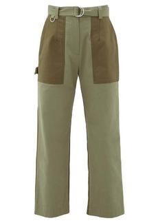 MSGM Panelled cotton-gabardine straight-leg trousers