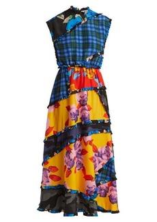 MSGM Panelled printed crepe de Chine dress