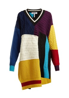 MSGM Patchwork cable-knit sweater