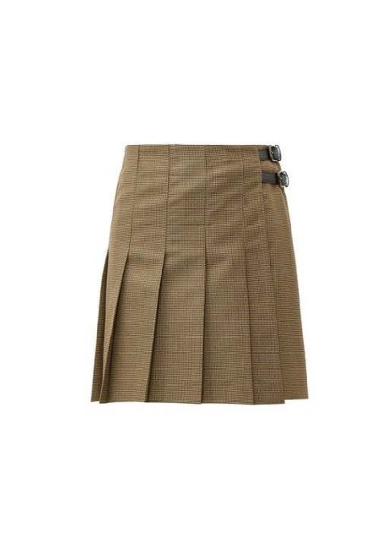MSGM Pleated wool-blend houndstooth mini skirt