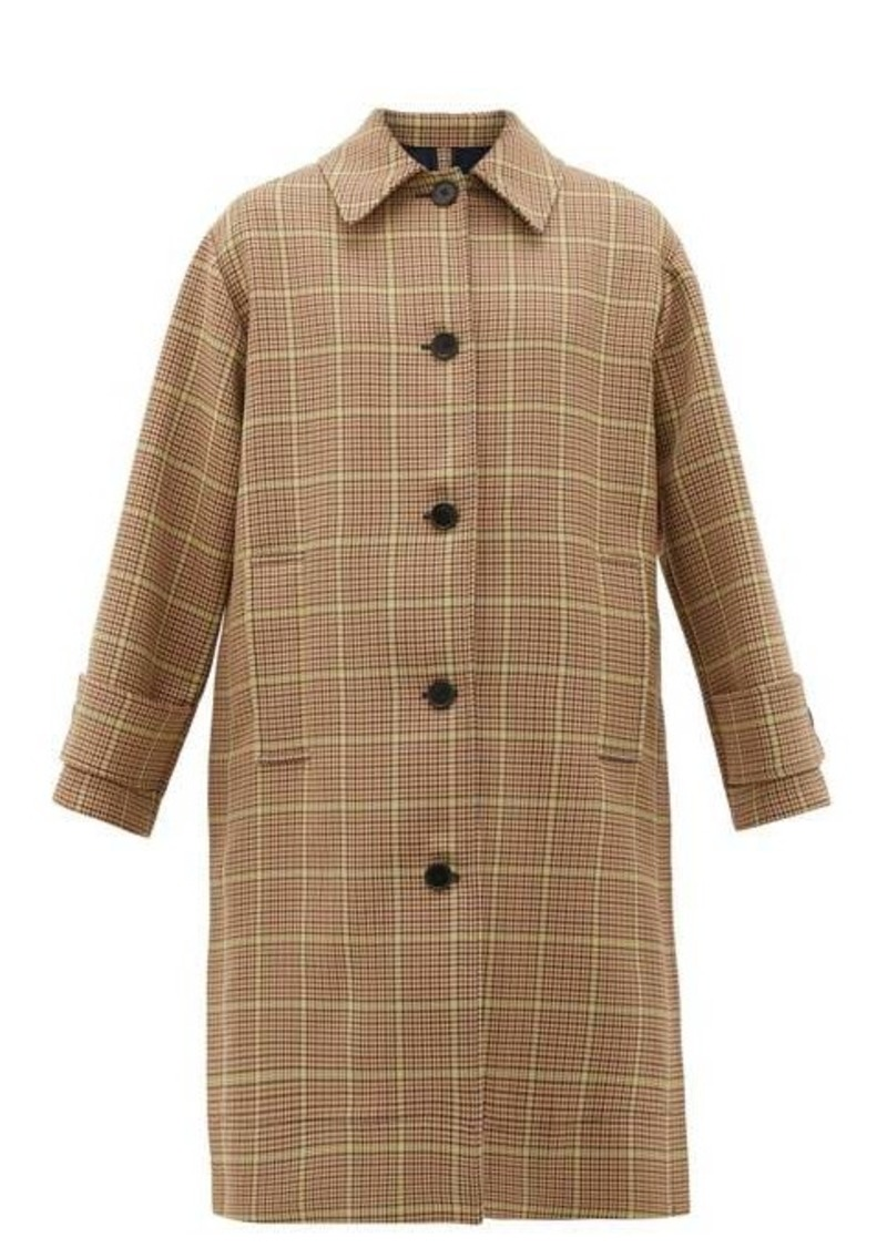 MSGM Prince of Wales-check pleated single-breasted coat