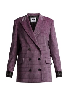 MSGM Prince of Wales-checked velvet blazer
