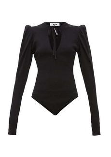 MSGM Puff-sleeve ribbed-jersey bodysuit