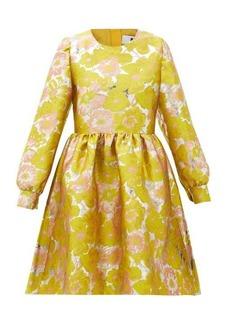 MSGM Puffed-sleeve floral-brocade mini dress
